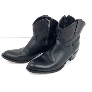 Frye Deborah Short Black Leather Boots